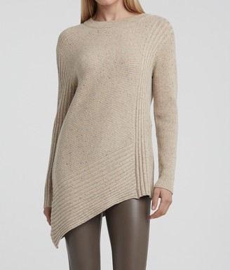 Ya-Ya Wool Blend Asymmetric Sweater with Rib Stitches - Beige Melange - small | beige - Beige