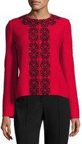 St. John Scroll-Embroidered Crinkle-Knit Zip-Front Jacket, Black