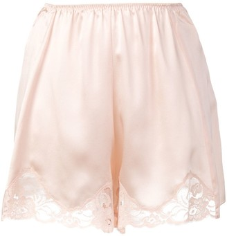 Stella McCartney Lace Trim Satin Shorts Pink