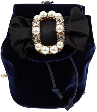 Roger Vivier Navy Velvet Backpacks