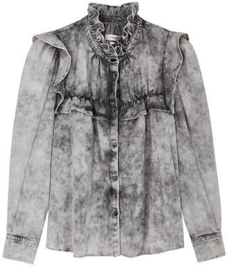 Etoile Isabel Marant Idety Grey Ruffle-trimmed Denim Shirt
