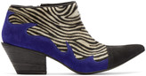 Haider Ackermann Black and White Zebra Hulan Boots