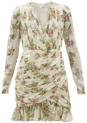 Giambattista Valli Ruched Floral-print Silk-georgette Mini Dress - Womens - Ivory Multi