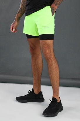 boohoo Mens Yellow MAN Active 2 In 1 Shorts, Yellow