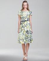 Carolina Herrera Vibrant Baroque-Print Twill Dress, Glacier