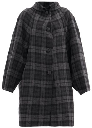 Balenciaga Raglan-sleeve Check Wool-blend Coat - Black Grey