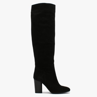 Daniel Lorna Black Suede Block Heel Over The Knee Boots