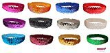 Sequin Headband Pack 12 Glitter Headbands ALL COLORS by Kenz Laurenz - Elastic Stretch Sparkly Fashion Headband for Teens Girls Women Softball Pack Volleyball Basketball Soccer Sports Basketball Teams Set Hair Accessories Store