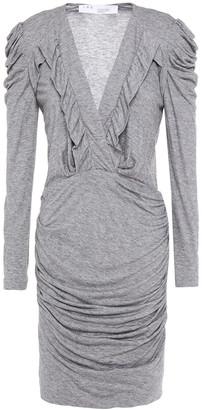 IRO Ebba Ruffle-trimmed Ruched Stretch-jersey Mini Dress