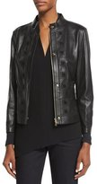 Escada Laser-Cut Leather Jacket, Black