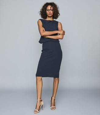 Reiss CLAUDINE DRAPED KNITTED DRESS Navy