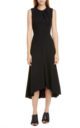 Alexander McQueen Pleat Neck Stretch Wool Crepe Midi Dress