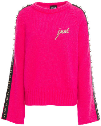 Just Cavalli Embellished Embroidered Neon Mohair-blend Sweater