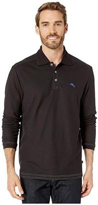 Tommy Bahama Emfielder 2.0 Polo Long Sleeve (Black) Men's Clothing