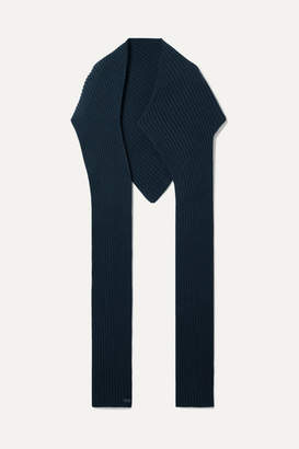 Givenchy Ribbed Wool And Cashmere-blend Scarf - Navy