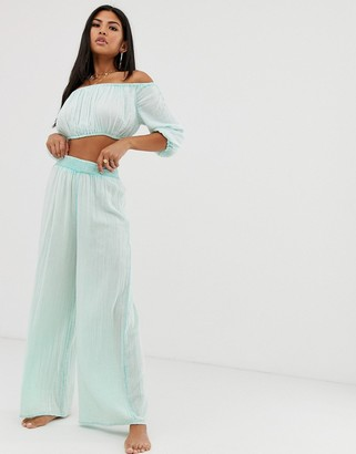 ASOS DESIGN wide leg beach pants in mint crinkle two-piece