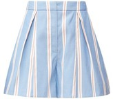 Carolina Herrera A-line Striped-poplin Shorts - Womens - Blue White