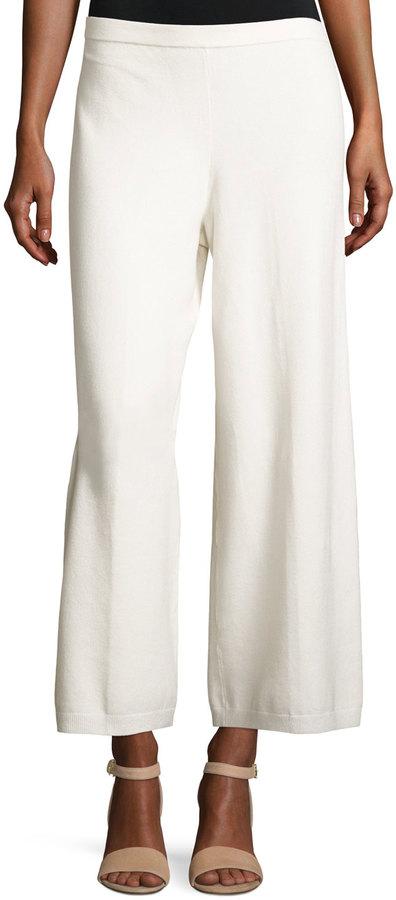 Joan Vass Wide-Leg Knit Easy Pants, Ivory