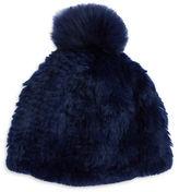 Adrienne Landau Fox Fur Pom Pom Accented Rabbit Fur Beanie Hat