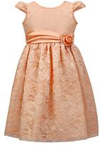 Jayne Copeland Peach Glitter Lace-Overlay Cap-Sleeve Dress - Toddler & Girls