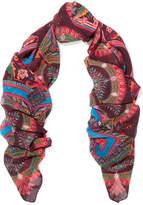 Etro Printed Silk-chiffon Scarf - Burgundy