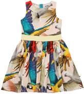 Molo Parrots Printed Cotton Poplin Dress