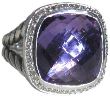 David Yurman Sterling Silver Amethyst and 0.33ct Diamond Ring Size 7