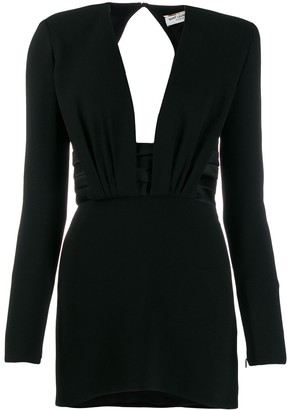 Saint Laurent Structured Shoulder Mini Dress