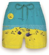Vilebrequin Boy's 'The Beach' Print Swim Trunks