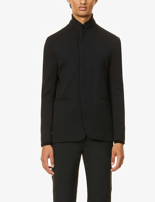 Emporio Armani Funnel-neck stretch-knitted jacket
