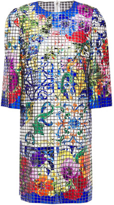 Dolce & Gabbana Printed Appliqued Tulle Mini Dress