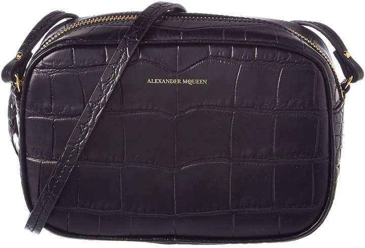 Alexander McQueen Small Embossed Leather Camera Bag