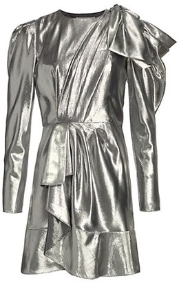 Alberta Ferretti Metallic Shoulder Bow Draped Dress