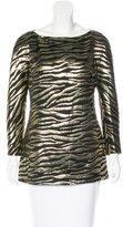 Michael Kors Metallic Zebra Print Top