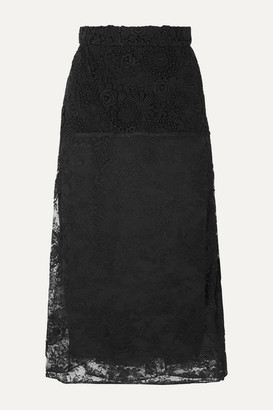 Prada Paneled Lace Midi Skirt - Black