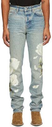 Amiri Indigo Flower Painted Jeans