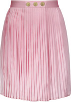 Pierre Balmain Wrap-effect plissé silk-satin mini skirt