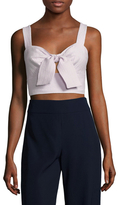 ABS by Allen Schwartz Cotton Striped Key Hole Crop Top