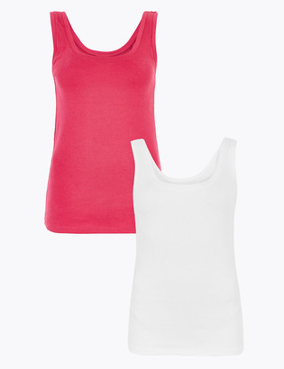 Marks and Spencer 2 Pack Pure Cotton Regular Fit Vest Tops