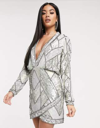 Asos Design DESIGN plunge mini dress with long sleeves and patched embellishment