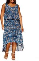 Boutique + + Sleeveless Hi Low Woven Maxi Dress-Plus