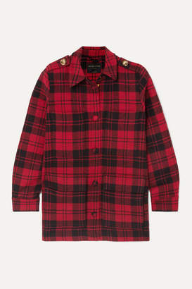 Mother of Pearl Brooke Oversized Checked Wool Jacket - Red