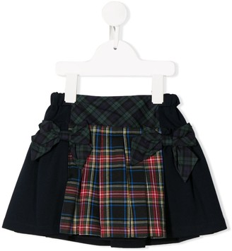 Lapin House Contrast Tartan Print Mini Skirt