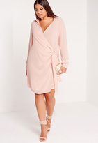 Missguided Plus Size Wrap Dress Nude