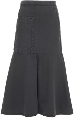 Tibi Fluted Cotton-twill Midi Skirt