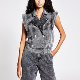 River Island Grey double breasted oversized denim gilet