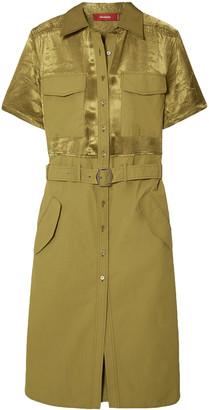 Sies Marjan Mila Belted Washed Satin-paneled Cotton-poplin Dress