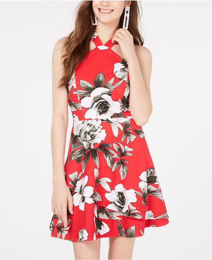 Speechless Juniors' Printed Halter-Neck Fit & Flare Dress