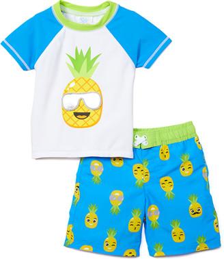 On Sol Swim Boys' Board Shorts MULTI - Blue & White Pineapple The Heat Is Rashguard Set - Infant & Toddler