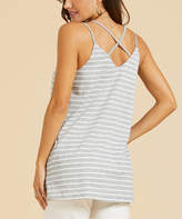 Suzanne Betro Weekend Women's Tunics 101GREY/WHITE - Gray & White Stripe Crisscross-Back Tank - Women & Plus